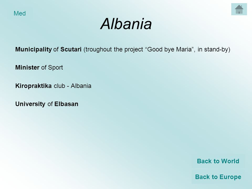 Albania Municipality of Scutari (troughout the project Good bye Maria , in stand-by) Minister of Sport Kiropraktika club - Albania University of Elbasan Back to World Back to Europe Med