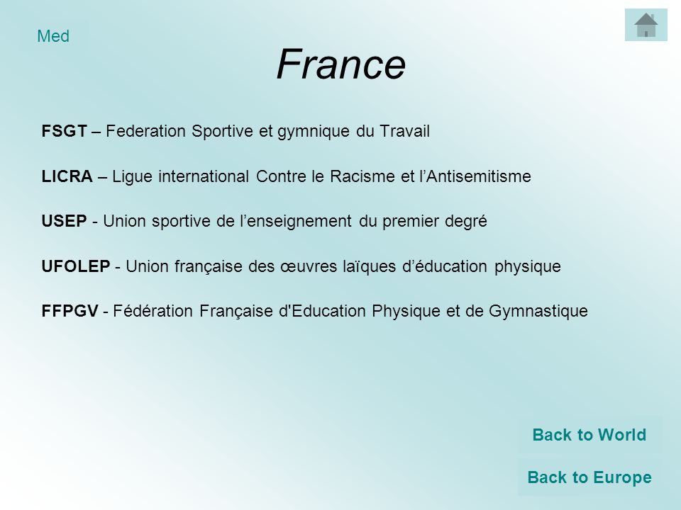 France FSGT – Federation Sportive et gymnique du Travail LICRA – Ligue international Contre le Racisme et l'Antisemitisme USEP - Union sportive de l'enseignement du premier degré UFOLEP - Union française des œuvres laïques d'éducation physique FFPGV - Fédération Française d Education Physique et de Gymnastique Back to World Back to Europe Med