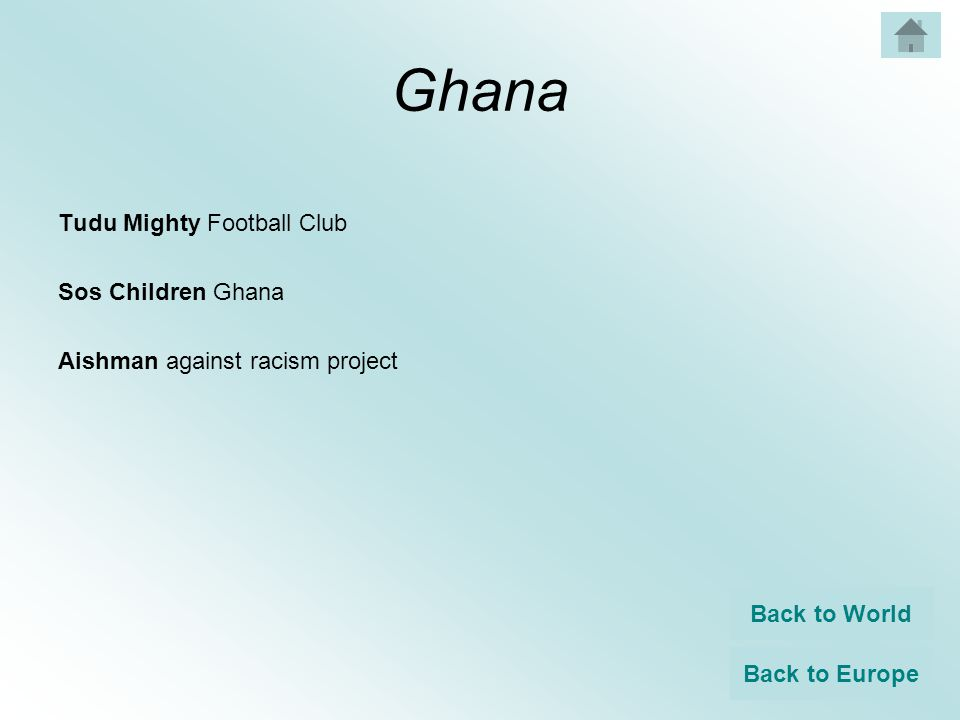 Ghana Tudu Mighty Football Club Sos Children Ghana Aishman against racism project Back to World Back to Europe