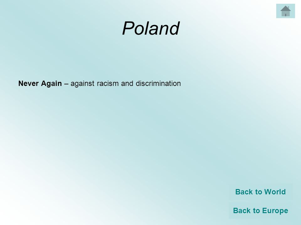 Poland Never Again – against racism and discrimination Back to World Back to Europe