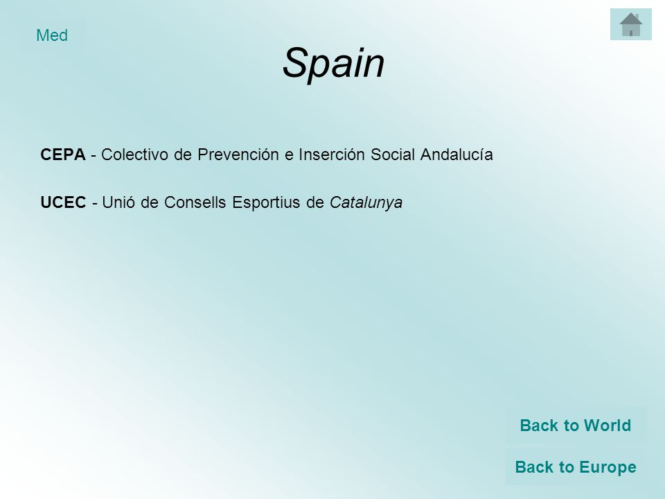 Spain CEPA - Colectivo de Prevención e Inserción Social Andalucía UCEC - Unió de Consells Esportius de Catalunya Back to World Back to Europe Med