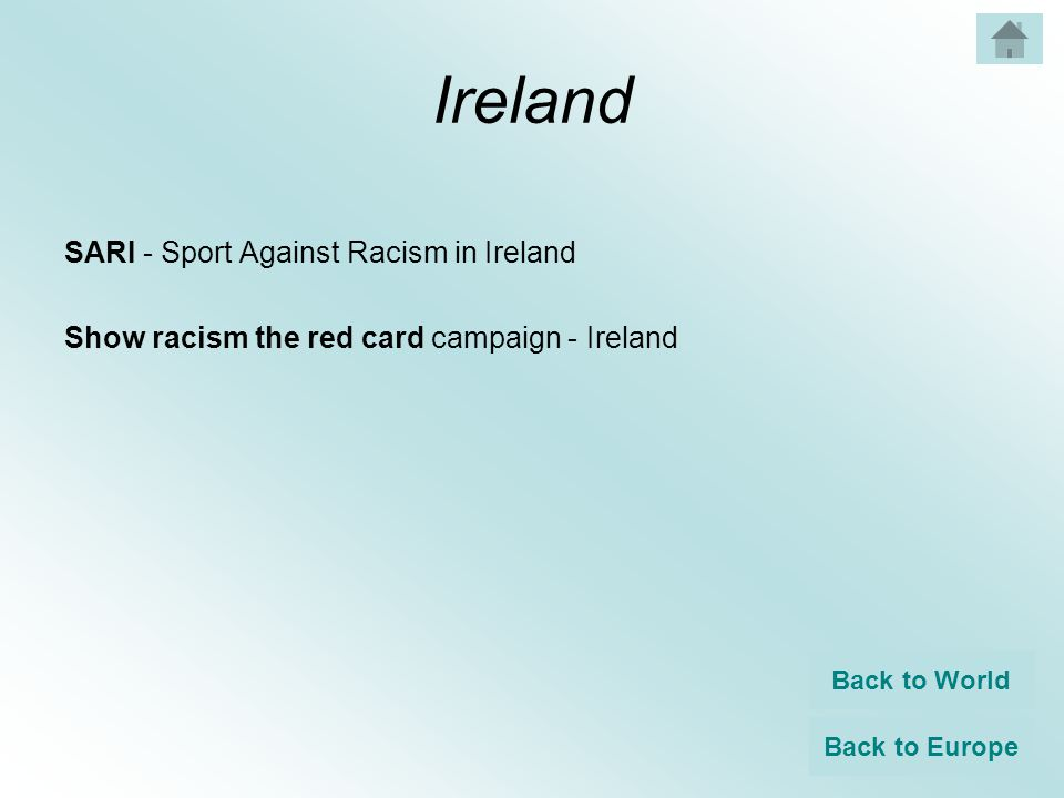 Ireland SARI - Sport Against Racism in Ireland Show racism the red card campaign - Ireland Back to World Back to Europe