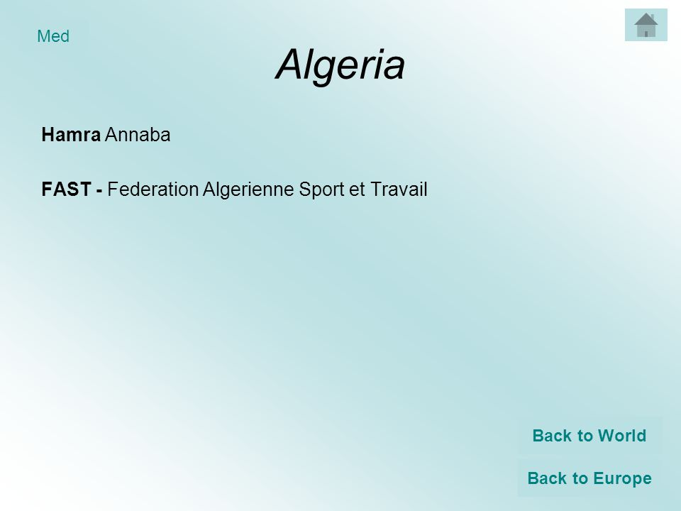 Algeria Hamra Annaba FAST - Federation Algerienne Sport et Travail Back to World Back to Europe Med