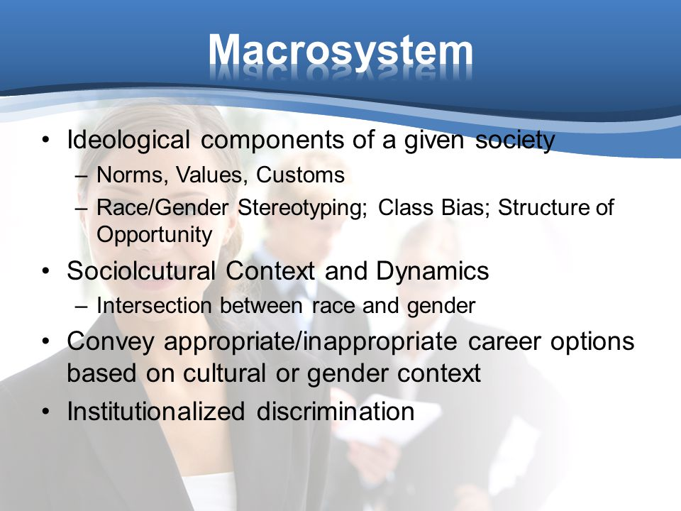 Ideological components of a given society –Norms, Values, Customs –Race/Gender Stereotyping; Class Bias; Structure of Opportunity Sociolcutural Context and Dynamics –Intersection between race and gender Convey appropriate/inappropriate career options based on cultural or gender context Institutionalized discrimination
