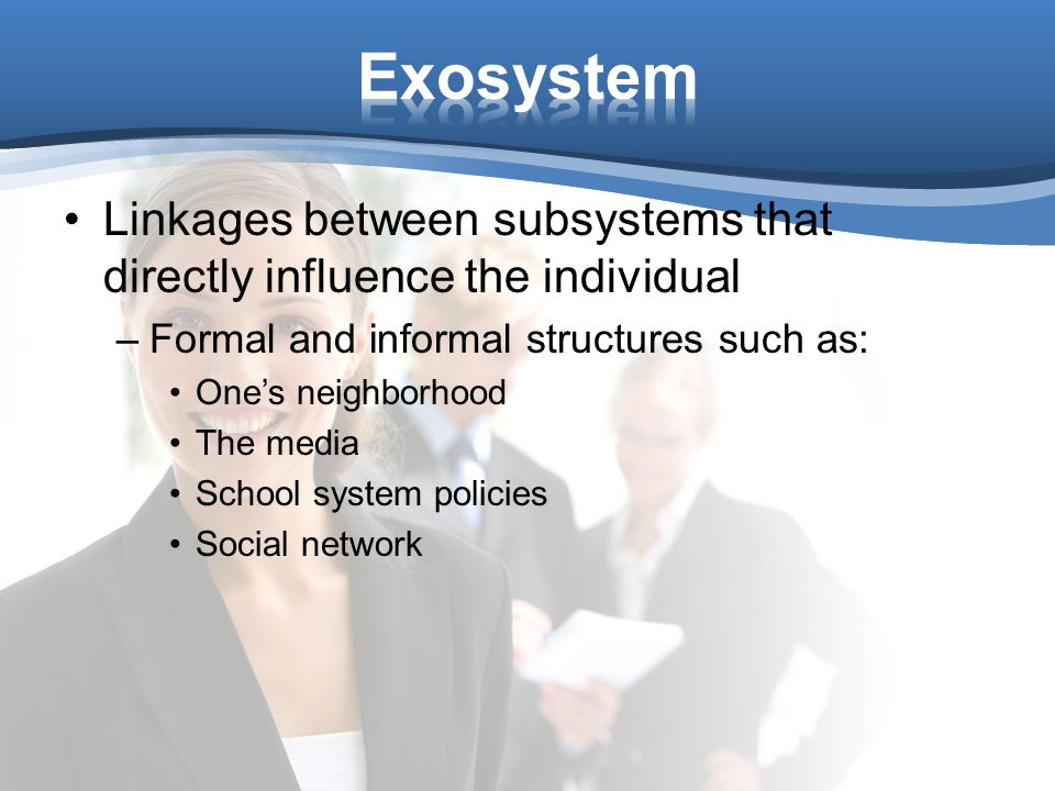 Linkages between subsystems that directly influence the individual –Formal and informal structures such as: One's neighborhood The media School system policies Social network