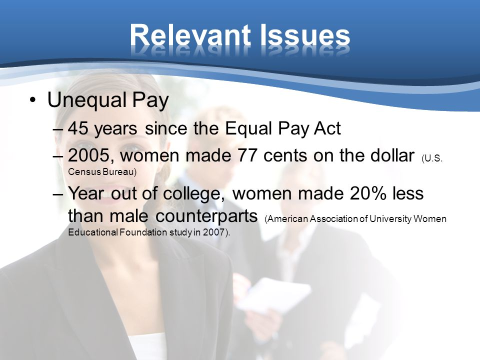 Unequal Pay –45 years since the Equal Pay Act –2005, women made 77 cents on the dollar (U.S.