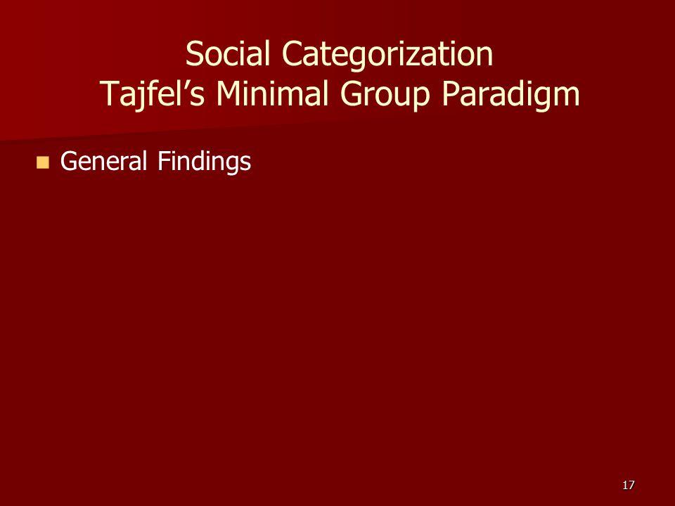 17 Social Categorization Tajfel's Minimal Group Paradigm General Findings