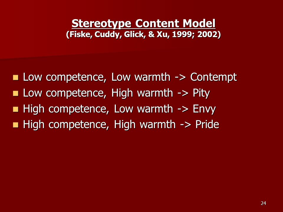 25 How Stereotypes Survive: Illusory Correlations Illusory Correlations –an overestimation of the association between variables that are only slightly or not at all correlated Confirmation Biases Confirmation Biases Self-Fulfilling Prophecies Self-Fulfilling Prophecies Attribution & Subtyping Attribution & Subtyping