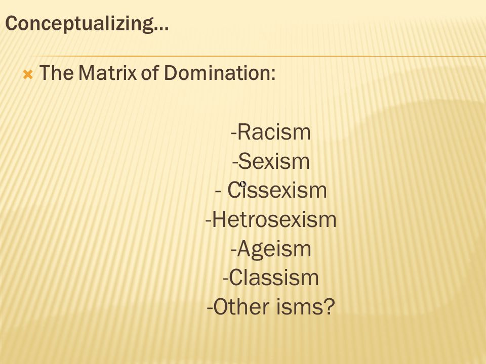 Conceptualizing…  The Matrix of Domination: -Racism -Sexism - Cissexism -Hetrosexism -Ageism -Classism -Other isms.