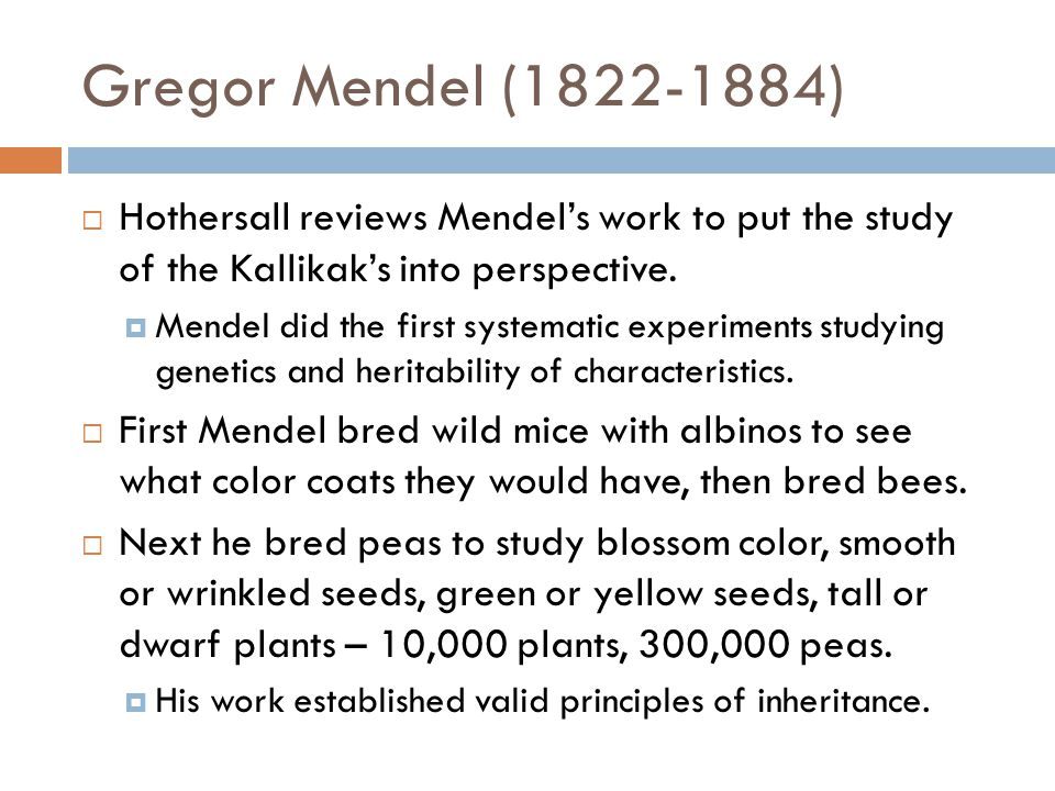 Gregor Mendel (1822-1884)  Hothersall reviews Mendel's work to put the study of the Kallikak's into perspective.