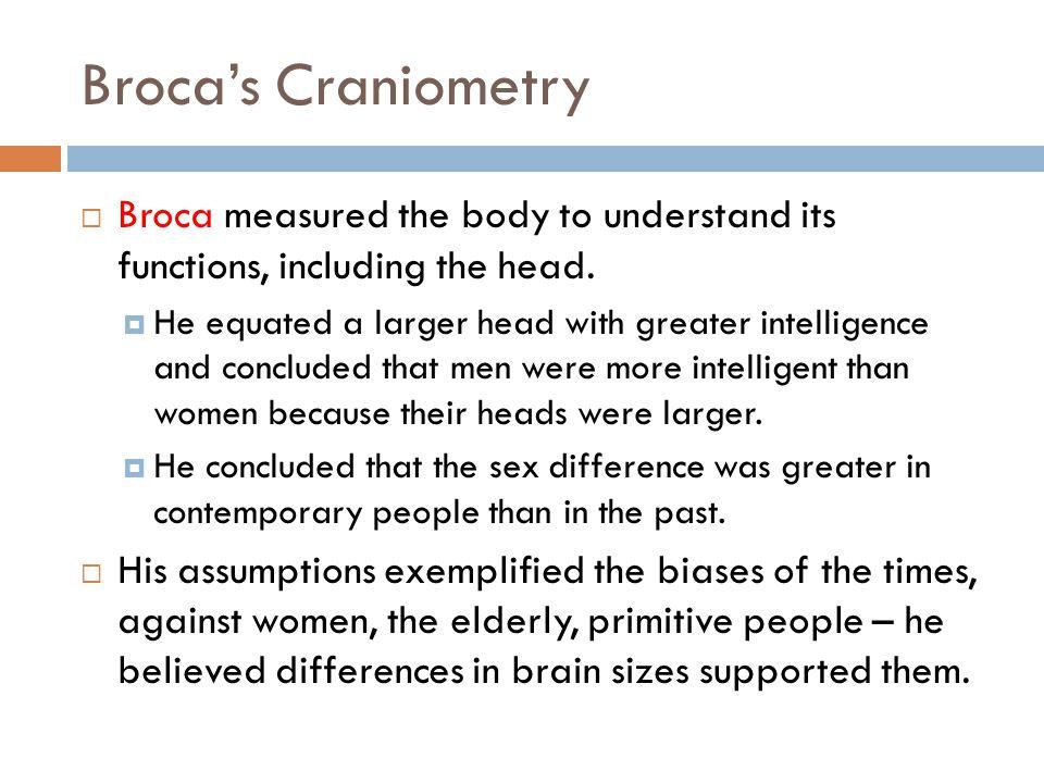 Broca's Craniometry  Broca measured the body to understand its functions, including the head.