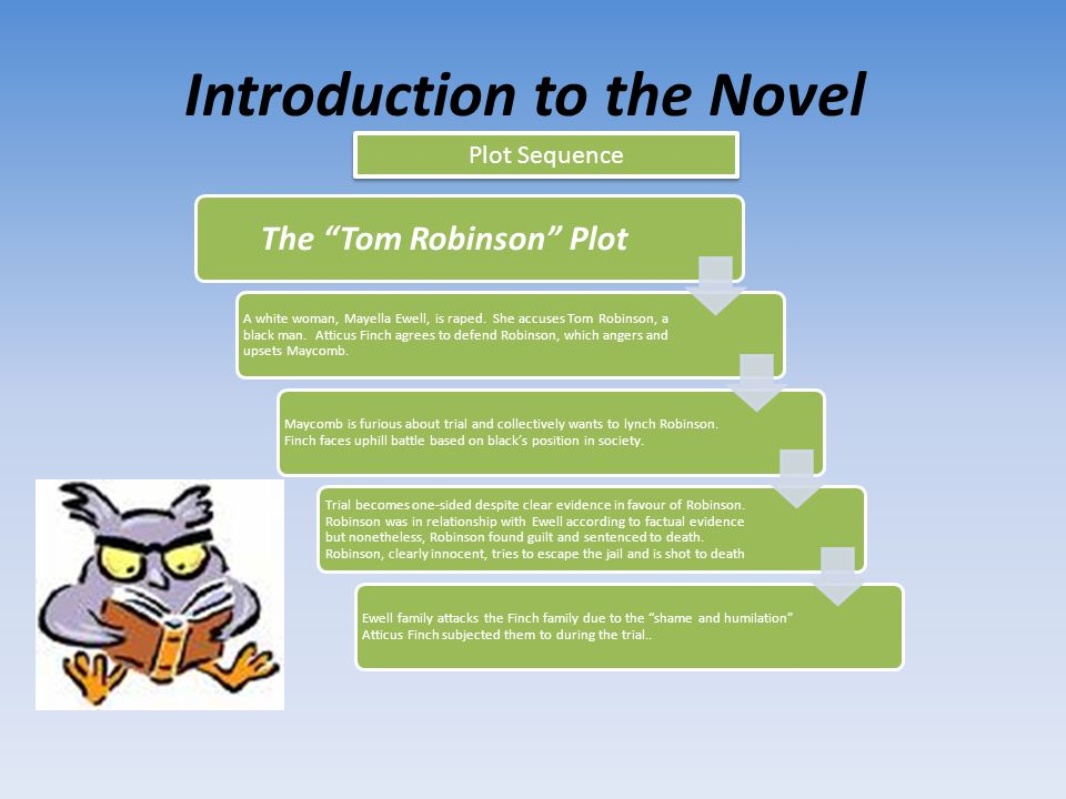 Introduction to the Novel Plot Sequence Connecting the Two Plots Over the course of the novel, Dill, Scout and Jem continue to build a relationship with Boo Radley, trying to get him to come out of the house during the day After the trial of Tom Robinson, the actions of Bob Ewell, (father of victim Mayella Ewell, progress from menacing the Finch family to breaking into the judge's house until he finally attacks Jem and Scout .