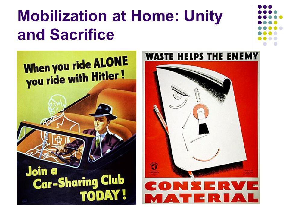 Mobilization at Home: Unity and Sacrifice