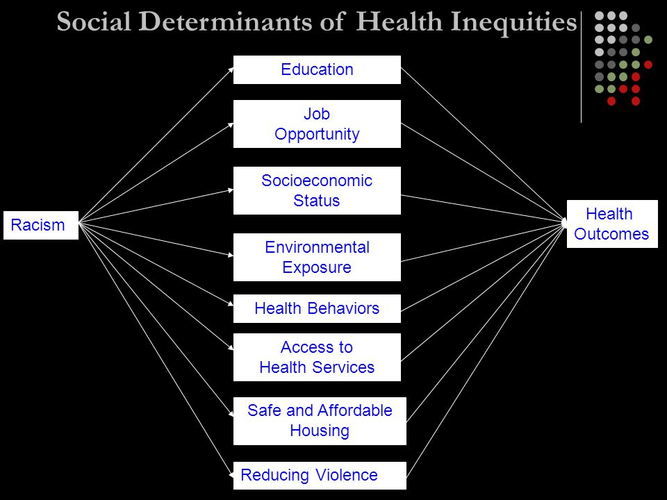 Racism Education Job Opportunity Socioeconomic Status Environmental Exposure Health Behaviors Access to Health Services Safe and Affordable Housing Reducing Violence Health Outcomes Social Determinants of Health Inequities