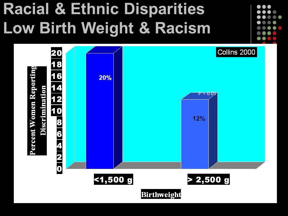 Racial & Ethnic Disparities Low Birth Weight & Racism 12% 20% P < 0.01