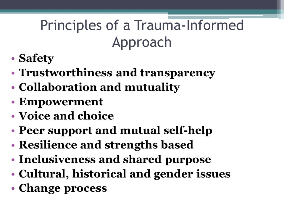 Principles of a Trauma-Informed Approach Safety Trustworthiness and transparency Collaboration and mutuality Empowerment Voice and choice Peer support and mutual self-help Resilience and strengths based Inclusiveness and shared purpose Cultural, historical and gender issues Change process