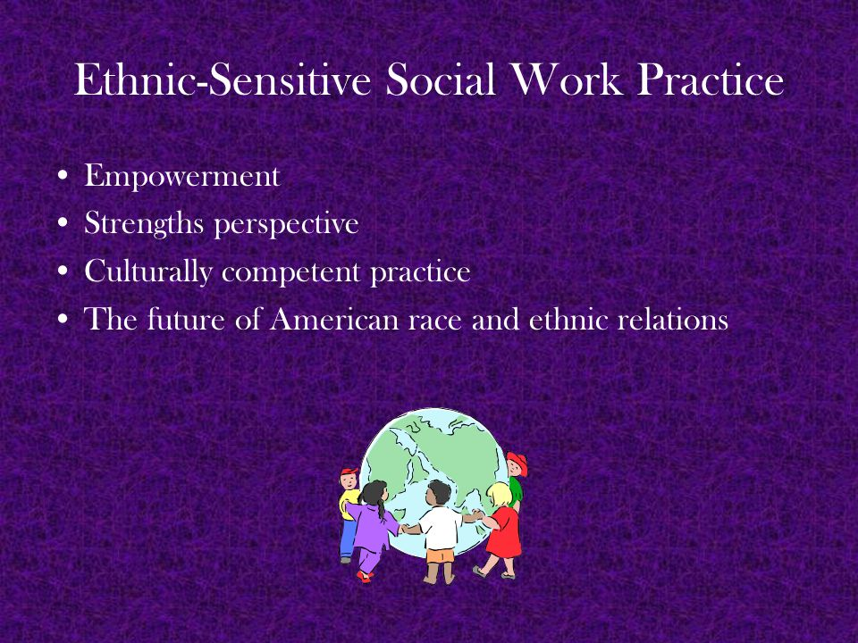 Ethnic-Sensitive Social Work Practice Empowerment Strengths perspective Culturally competent practice The future of American race and ethnic relations