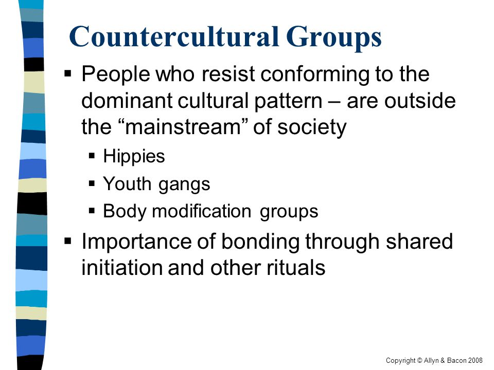 Copyright © Allyn & Bacon 2008 Countercultural Groups  People who resist conforming to the dominant cultural pattern – are outside the mainstream of society  Hippies  Youth gangs  Body modification groups  Importance of bonding through shared initiation and other rituals