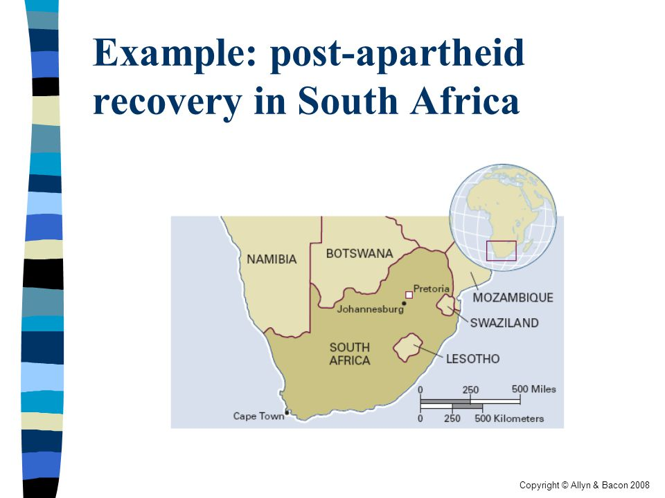 Copyright © Allyn & Bacon 2008 Example: post-apartheid recovery in South Africa