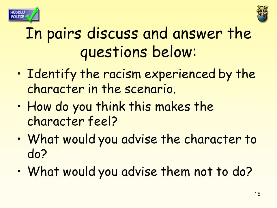 15 In pairs discuss and answer the questions below: Identify the racism experienced by the character in the scenario.