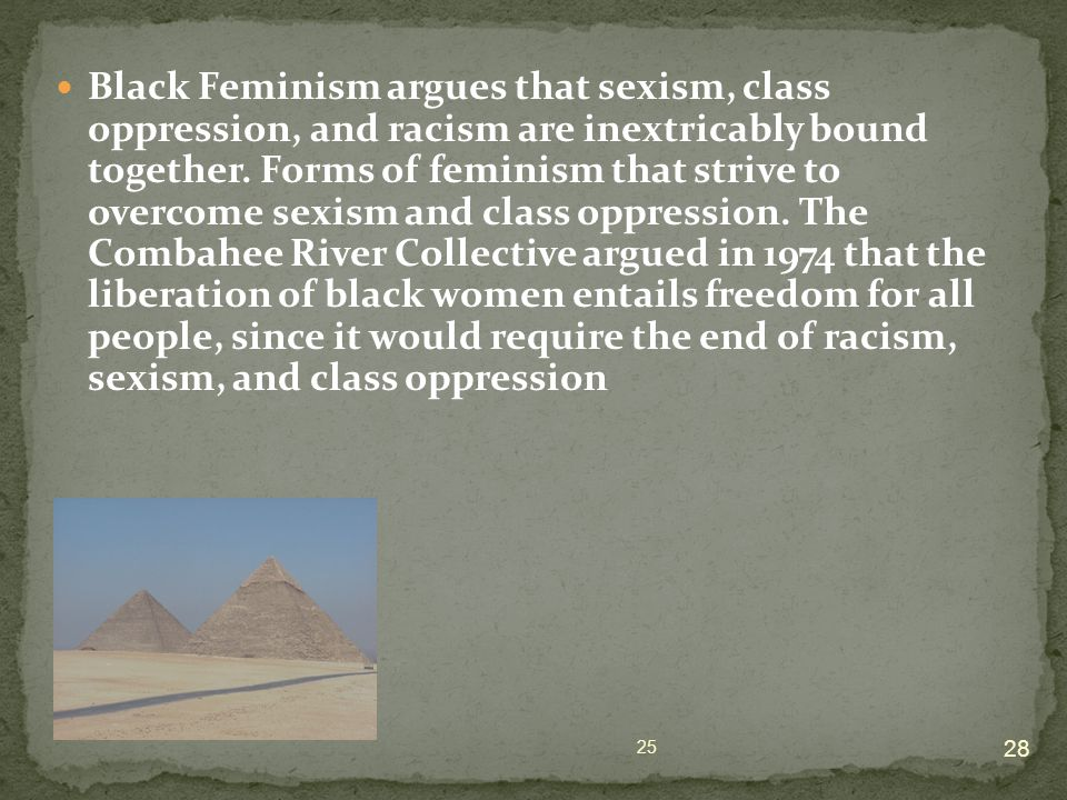 Black Feminism argues that sexism, class oppression, and racism are inextricably bound together.