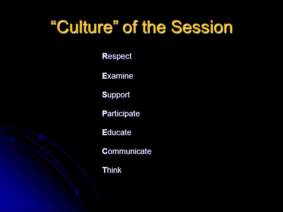 Culture of the Session Respect Examine Support Participate Educate Communicate Think