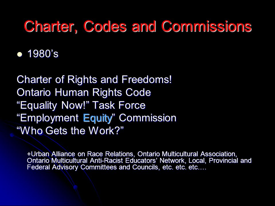 Charter, Codes and Commissions 1980's 1980's Charter of Rights and Freedoms.