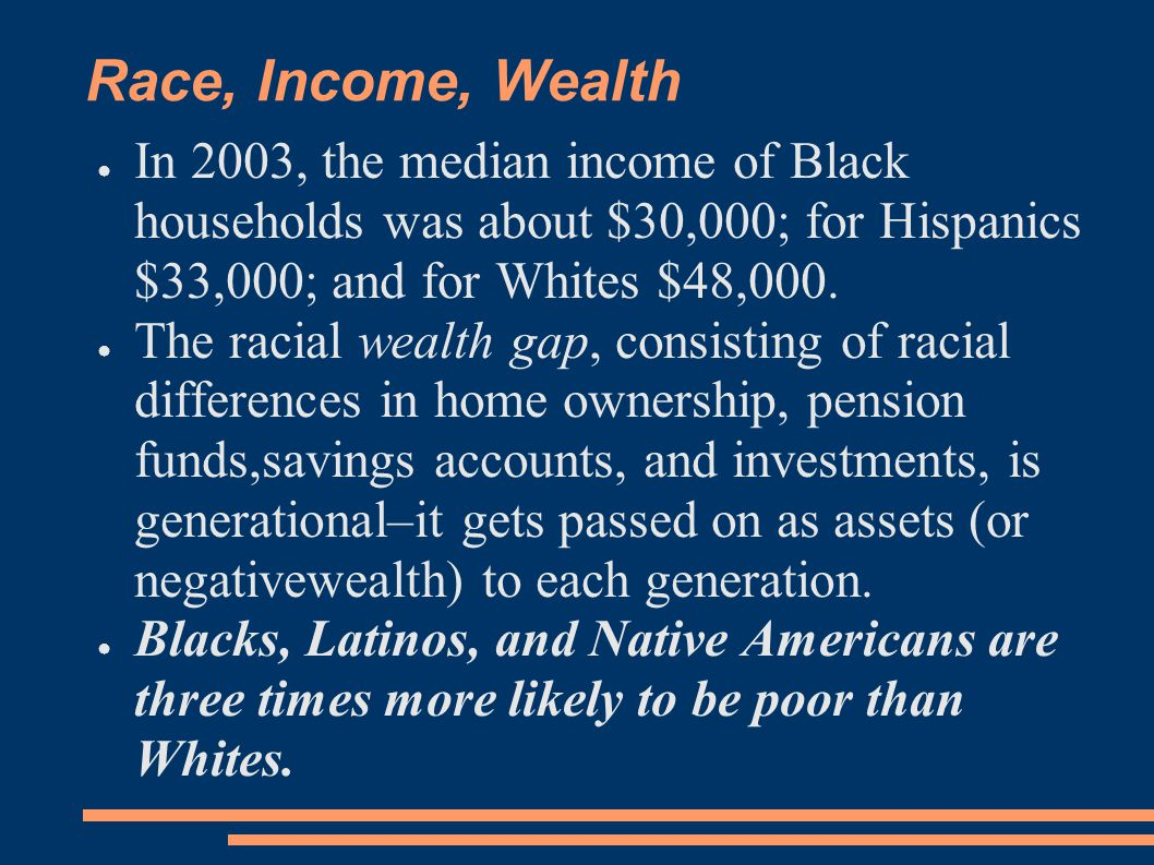 Race, Income, Wealth ● In 2003, the median income of Black households was about $30,000; for Hispanics $33,000; and for Whites $48,000. ● The racial w