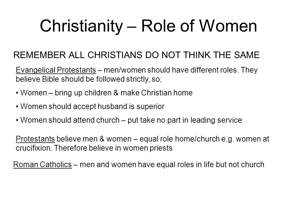 Christianity – Role of Women REMEMBER ALL CHRISTIANS DO NOT THINK THE SAME Evangelical Protestants – men/women should have different roles.
