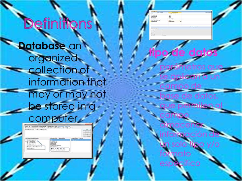 Database an organized collection of information that may or may not be stored in a computer tipo de datos parámetros que se aplican a un campo de base