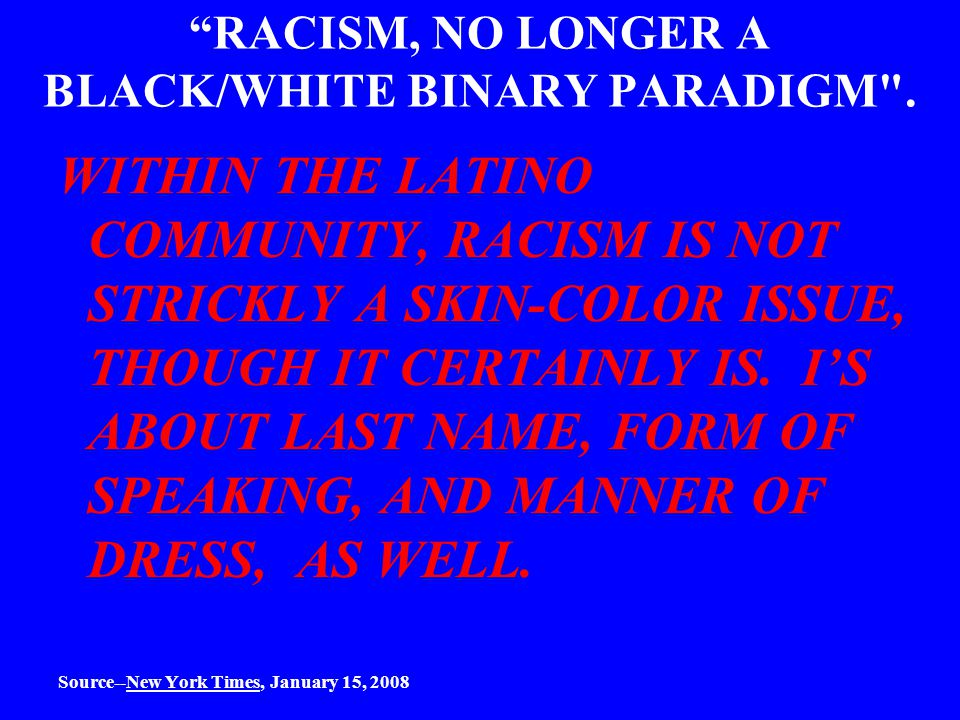 RACISM, NO LONGER A BLACK/WHITE BINARY PARADIGM .
