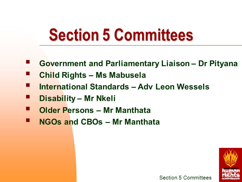  Government and Parliamentary Liaison – Dr Pityana  Child Rights – Ms Mabusela  International Standards – Adv Leon Wessels  Disability – Mr Nkeli  Older Persons – Mr Manthata  NGOs and CBOs – Mr Manthata Section 5 Committees