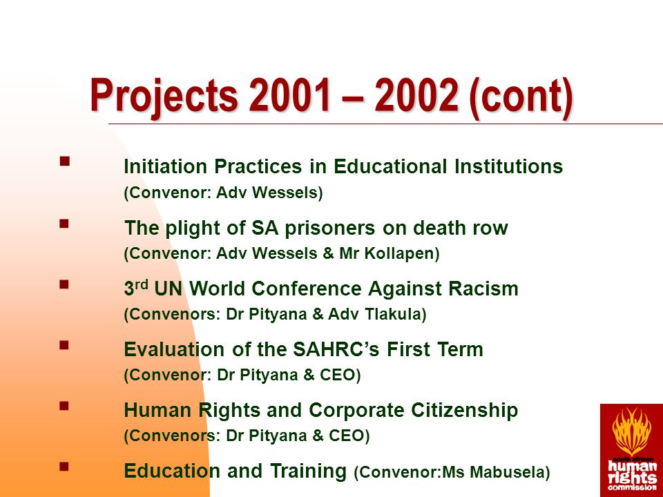  Initiation Practices in Educational Institutions (Convenor: Adv Wessels)  The plight of SA prisoners on death row (Convenor: Adv Wessels & Mr Kollapen)  3 rd UN World Conference Against Racism (Convenors: Dr Pityana & Adv Tlakula)  Evaluation of the SAHRC's First Term (Convenor: Dr Pityana & CEO)  Human Rights and Corporate Citizenship (Convenors: Dr Pityana & CEO)  Education and Training (Convenor:Ms Mabusela) Projects 2001 – 2002 (cont)
