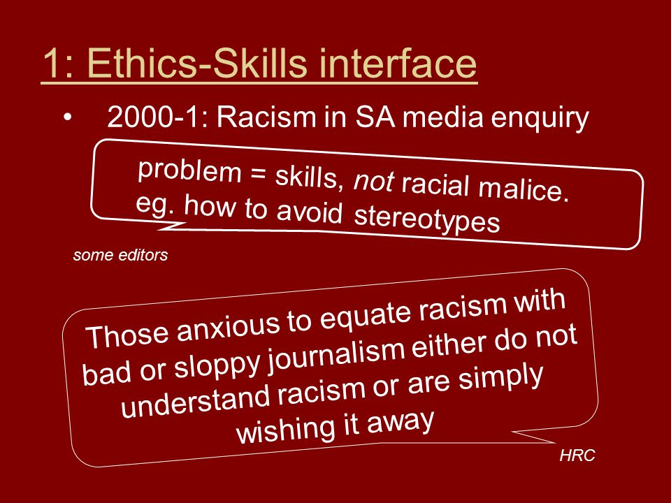 1: Ethics-Skills interface 2000-1: Racism in SA media enquiry problem = skills, not racial malice.