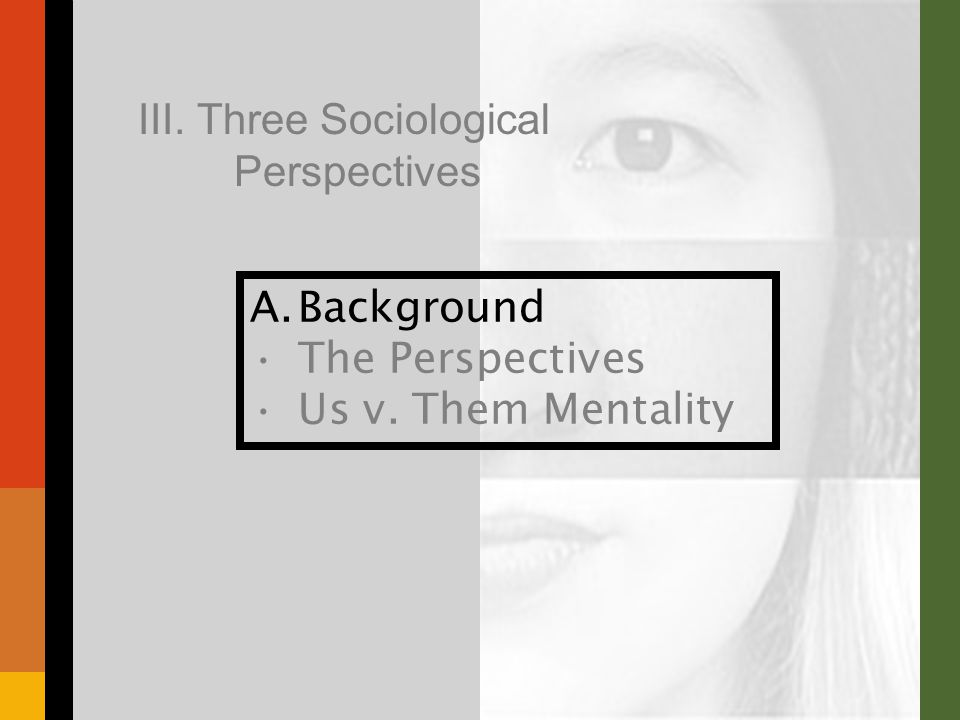 A.Background The Perspectives Us v. Them Mentality III. Three Sociological Perspectives