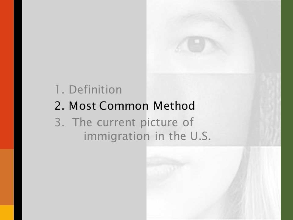 1. Definition 2. Most Common Method 3. The current picture of immigration in the U.S.