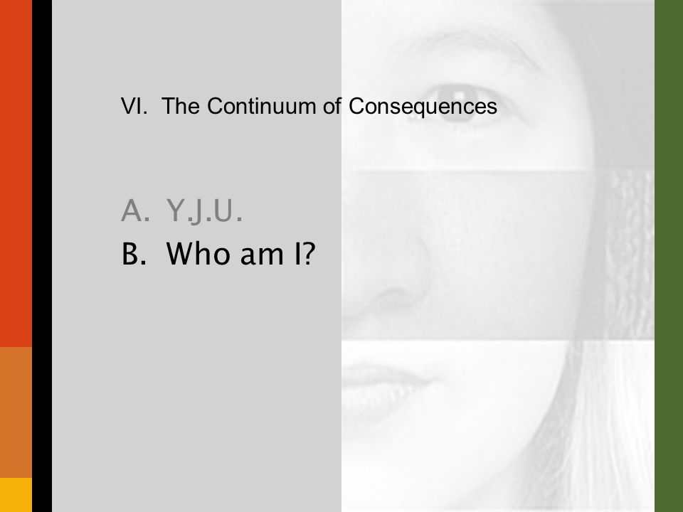 VI. The Continuum of Consequences A.Y.J.U. B.Who am I