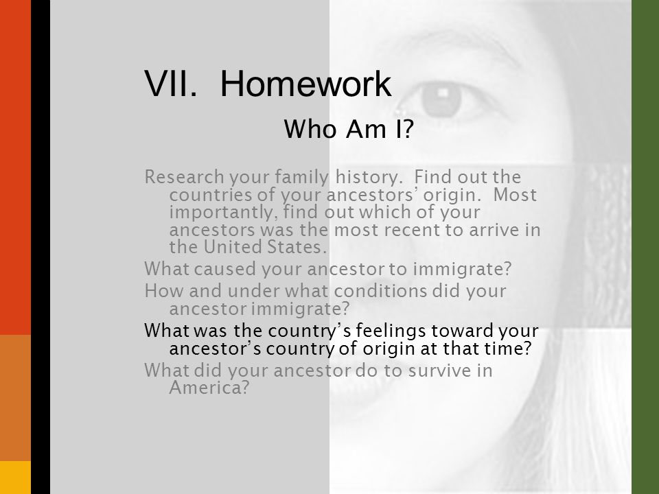 VII. Homework Who Am I. Research your family history.
