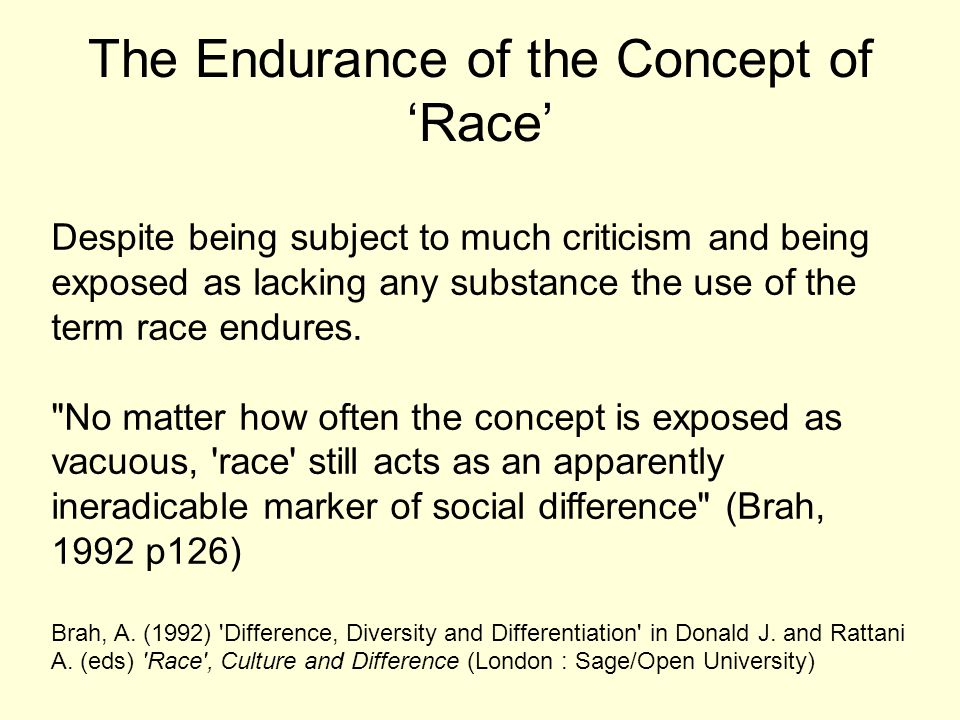 The Endurance of the Concept of 'Race' Despite being subject to much criticism and being exposed as lacking any substance the use of the term race end