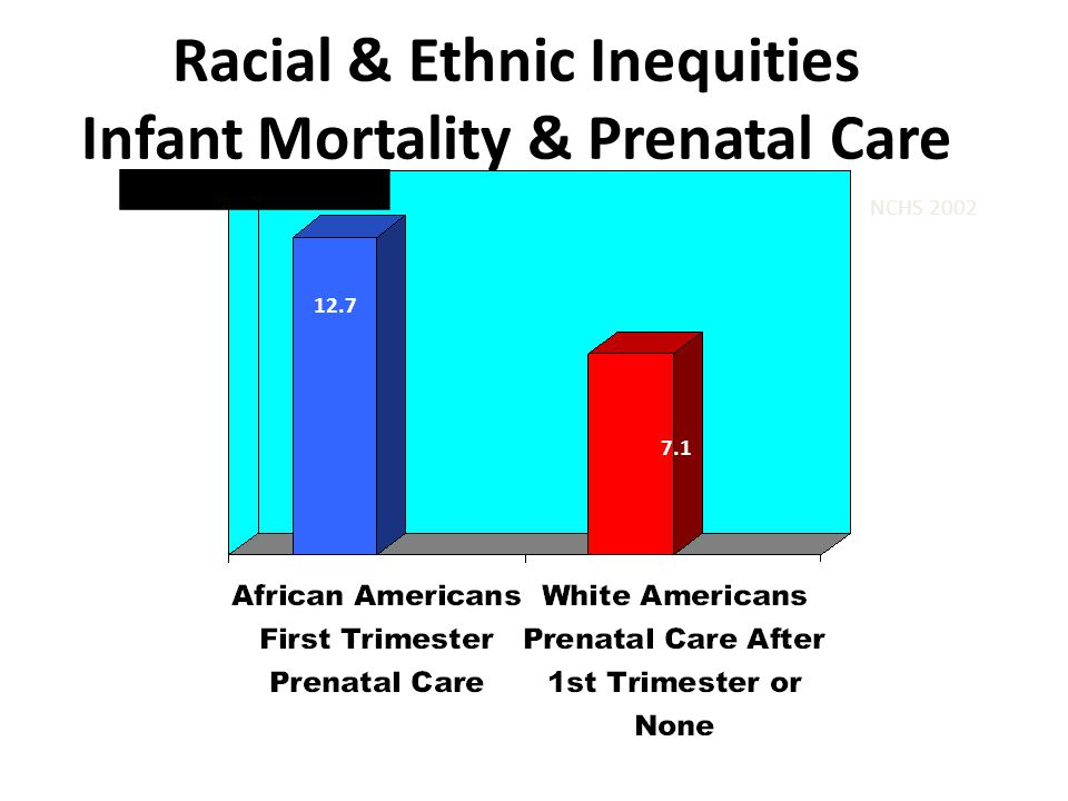 Racial & Ethnic Inequities Infant Mortality & Prenatal Care NCHS 2002 12.7 7.1