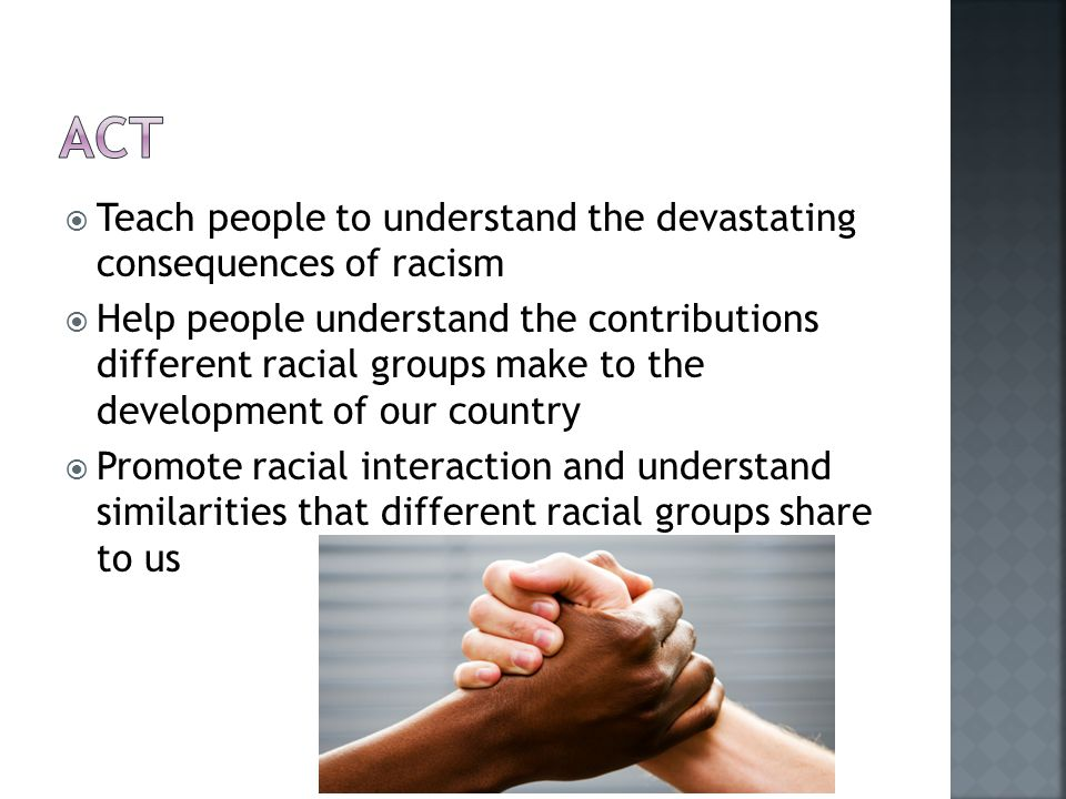  Teach people to understand the devastating consequences of racism  Help people understand the contributions different racial groups make to the development of our country  Promote racial interaction and understand similarities that different racial groups share to us