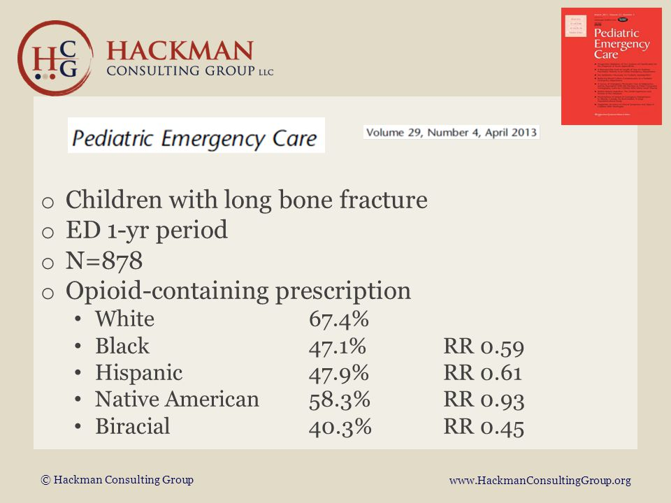 © Hackman Consulting Group www.HackmanConsultingGroup.org o Children with long bone fracture o ED 1-yr period o N=878 o Opioid-containing prescription White67.4% Black47.1% RR 0.59 Hispanic47.9%RR 0.61 Native American58.3%RR 0.93 Biracial40.3%RR 0.45