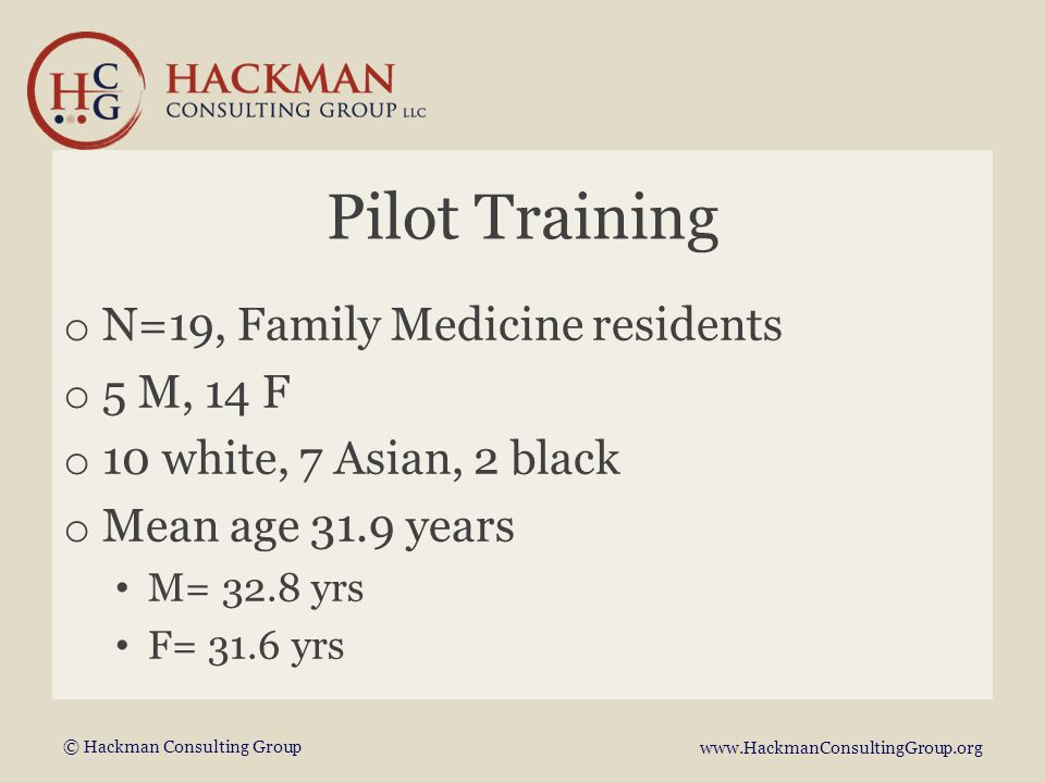 © Hackman Consulting Group www.HackmanConsultingGroup.org Pilot Training o N=19, Family Medicine residents o 5 M, 14 F o 10 white, 7 Asian, 2 black o Mean age 31.9 years M= 32.8 yrs F= 31.6 yrs