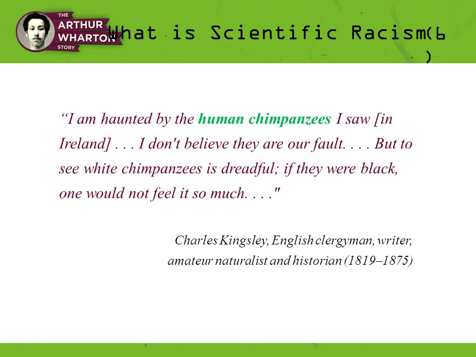 What is Scientific Racism (6 ) I am haunted by the human chimpanzees I saw [in Ireland]...