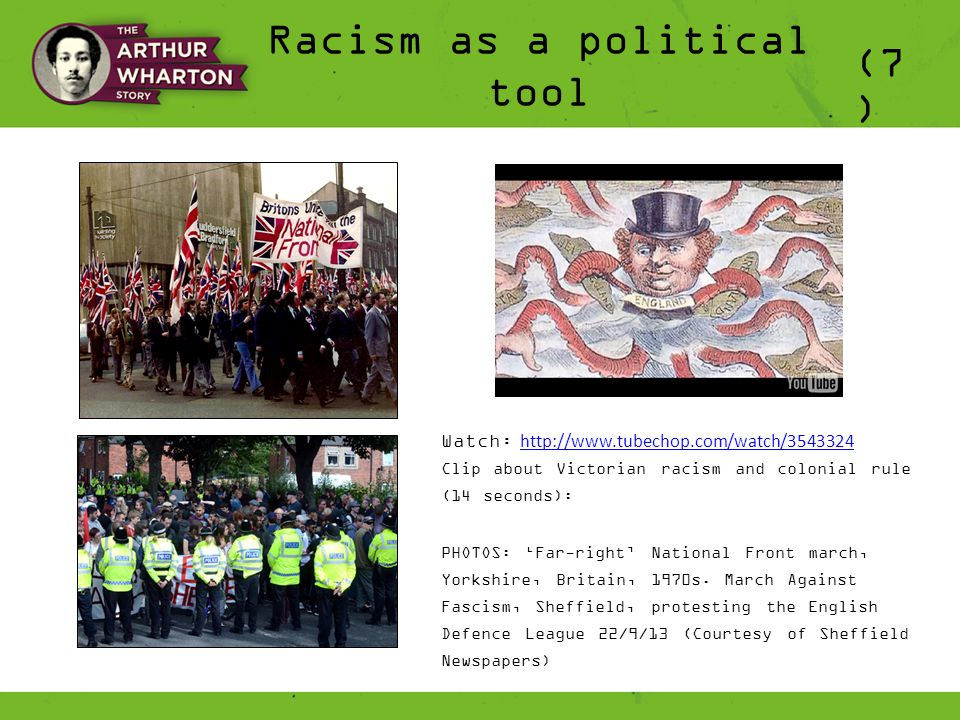 Racism as a political tool (7 ) Watch: http://www.tubechop.com/watch/3543324 http://www.tubechop.com/watch/3543324 Clip about Victorian racism and colonial rule (14 seconds): PHOTOS: 'Far-right' National Front march, Yorkshire, Britain, 1970s.