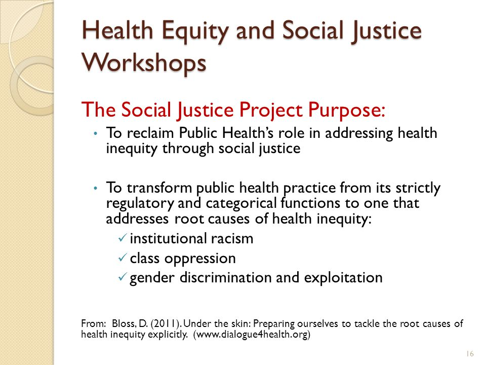 Health Equity and Social Justice Workshops The Social Justice Project Purpose: To reclaim Public Health's role in addressing health inequity through social justice To transform public health practice from its strictly regulatory and categorical functions to one that addresses root causes of health inequity: institutional racism class oppression gender discrimination and exploitation From: Bloss, D.