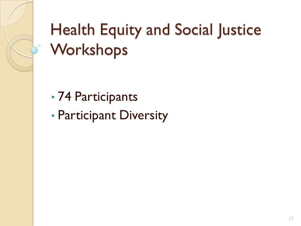 Health Equity and Social Justice Workshops 74 Participants Participant Diversity 17