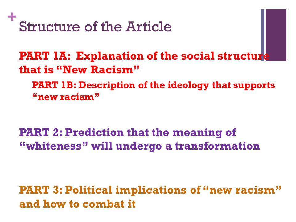 """+ Structure of the Article PART 1A: Explanation of the social structure that is """"New Racism"""" PART 1B: Description of the ideology that supports """"new r"""