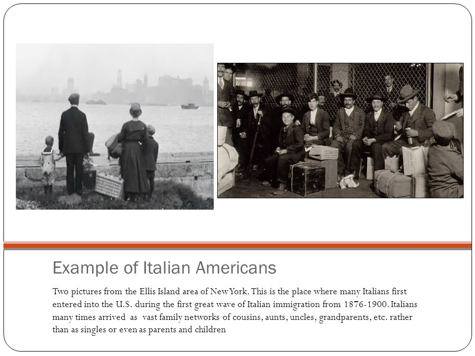 Example of Italian Americans Two pictures from the Ellis Island area of New York.