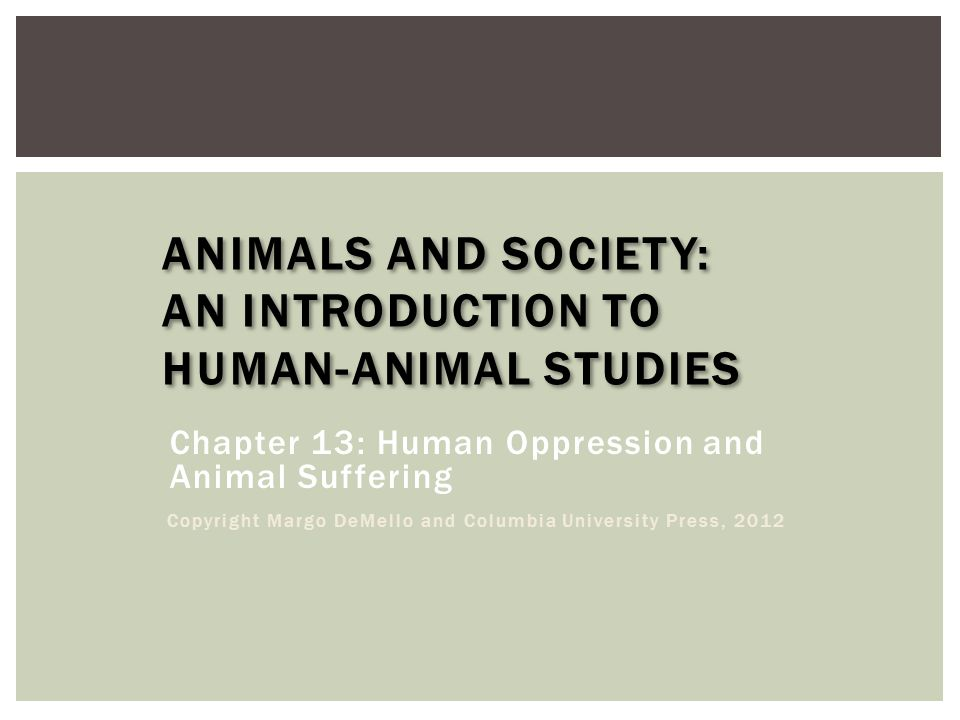 ANIMALS AND SOCIETY: AN INTRODUCTION TO HUMAN-ANIMAL STUDIES Chapter 13: Human Oppression and Animal Suffering Copyright Margo DeMello and Columbia University Press, 2012